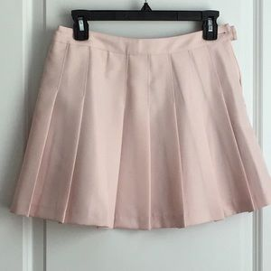Blush pink pleated mini skirt